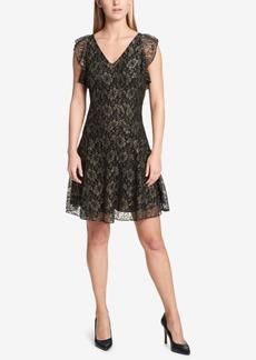 Tommy Hilfiger Metallic-Lace Fit & Flare Dress