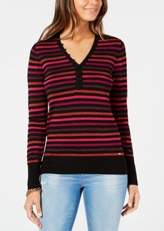 Tommy Hilfiger Metallic Striped Henley Top, Created for Macy's