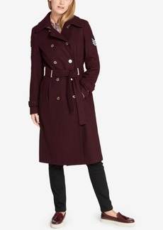 Tommy Hilfiger Military Wool-Blend Belted Trench Coat