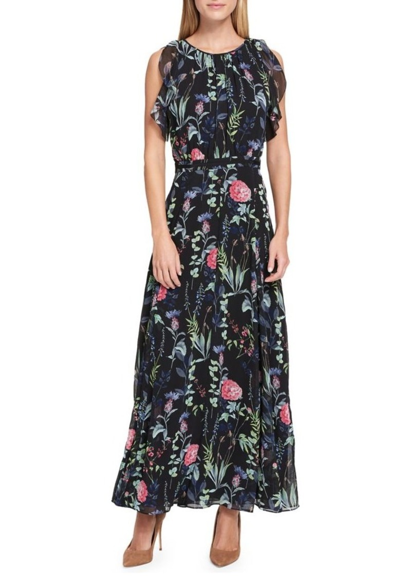 0850c48075 Pretty Chiffon Bohemia Floral Front Split with Tie Long Sleeve Maxi.