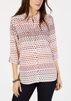 Tommy Hilfiger Multi-Dot Print Roll-Tab Shirt, Created for Macy's