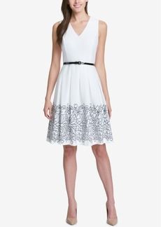Tommy Hilfiger Oahu Belted Embroidered Scuba Dress