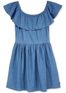 Tommy Hilfiger Off-The-Shoulder Cotton Denim Ruffle Dress, Big Girls (7-16)