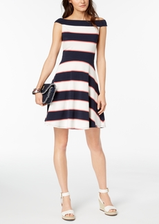 Tommy Hilfiger Off-The-Shoulder Fit & Flare Dress, Created for Macy's