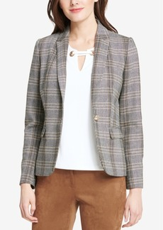 Tommy Hilfiger One-Button Plaid Elbow-Patches Jacket
