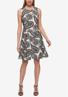 Tommy Hilfiger Paisley-Embroidered Fit & Flare Dress