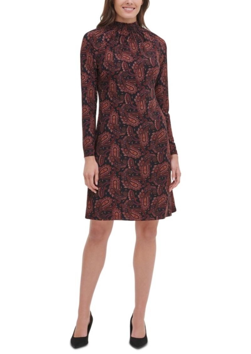 Tommy Hilfiger Paisley Mock-Neck Dress