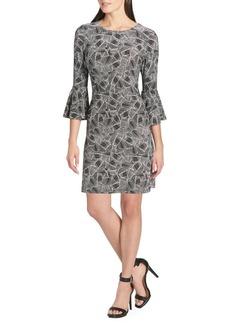 Tommy Hilfiger Palm-Print Bell-Sleeve A-Line Dress