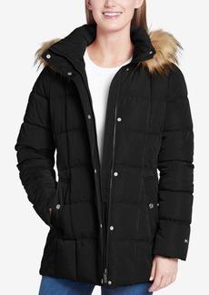 Tommy Hilfiger Petite Faux-Fur-Trim Box-Quilted Coat