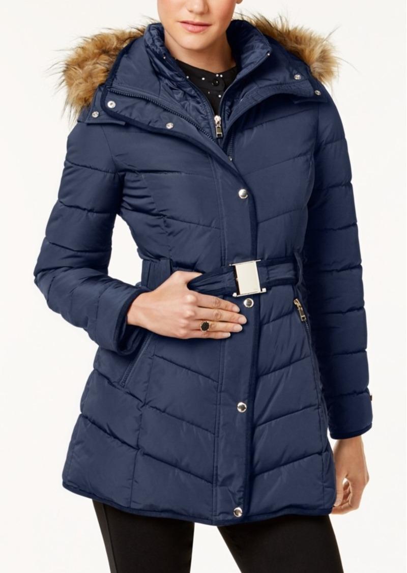 c948a792ff9 Petite Faux-Fur-Trim Layered Belted Puffer Coat
