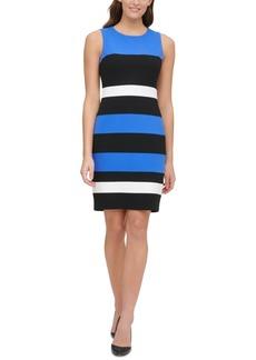 Tommy Hilfiger Petite Scuba Crepe Colorblock Sheath Dress
