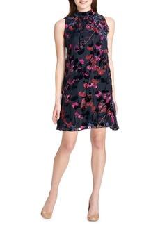 Tommy Hilfiger Photo Blossom Chiffon & Velvet Trapeze Dress