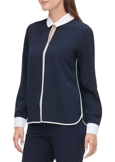 Tommy Hilfiger Piped Long-Sleeve Collared Top