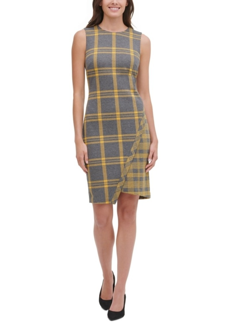 Tommy Hilfiger Plaid Asymmetrical Sweater Dress