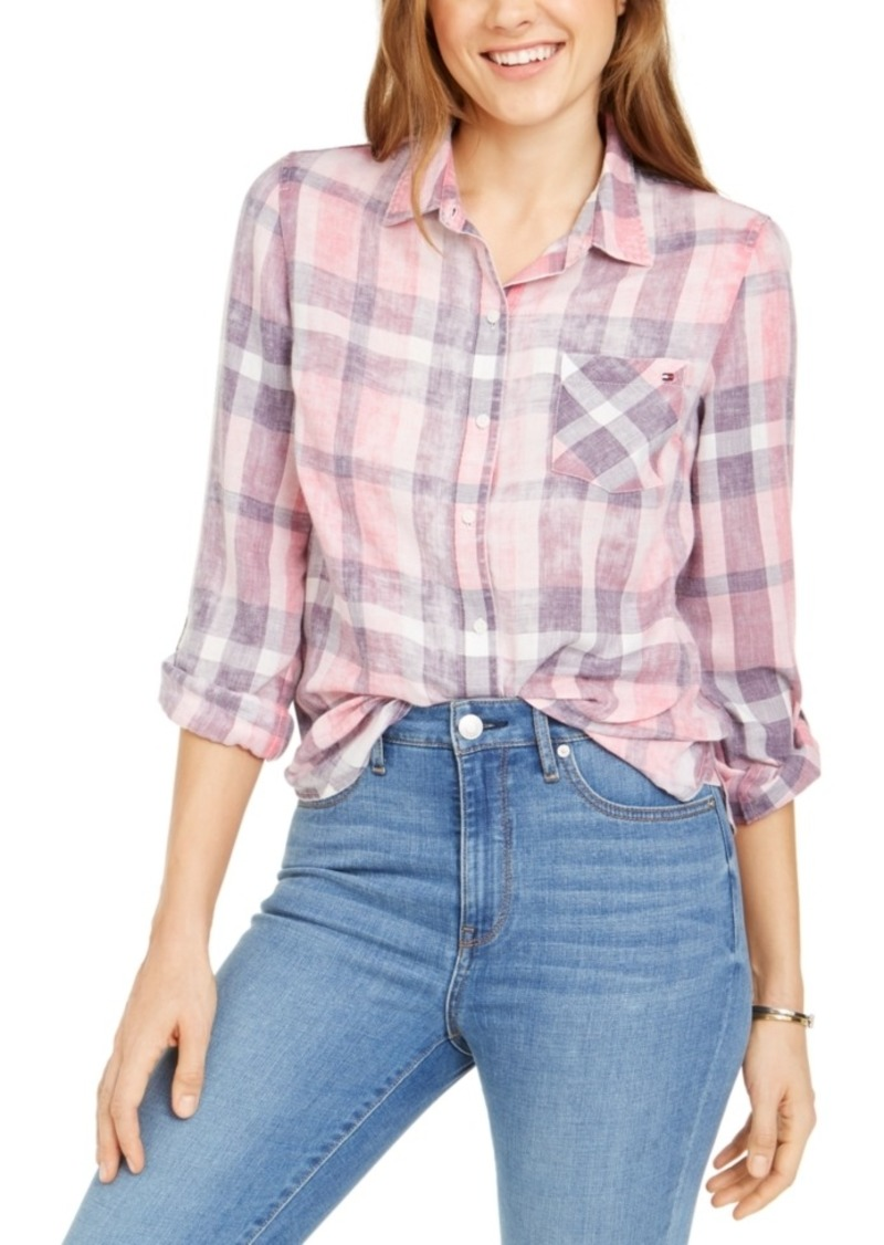 Tommy Hilfiger Plaid Roll-Sleeve Shirt