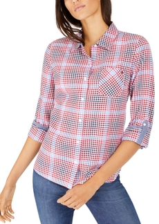 Tommy Hilfiger Gingham Roll-Tab-Sleeve Cotton Top