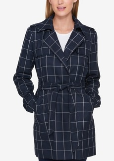 Tommy Hilfiger Plaid Wrap Trench Jacket