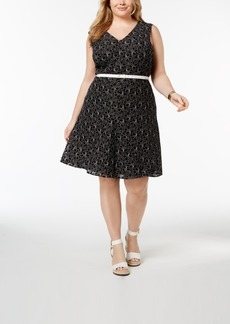 Tommy Hilfiger Plus Size Belted Lace A-Line Dress, Created for Macy's