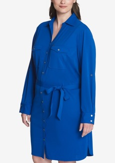Tommy Hilfiger Plus Size Belted Shirtdress, Created for Macy's