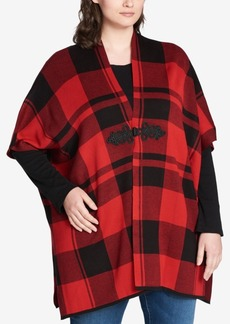 Tommy Hilfiger Plus Size Buffalo Plaid Hook-Front Jacket, Created for Macy's