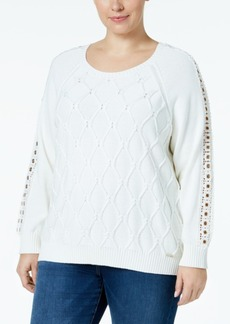 Tommy Hilfiger Plus Size Cable-Knit Grommet-Trim Sweater, Created for Macy's