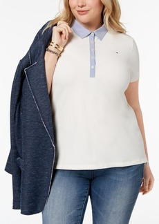 Tommy Hilfiger Plus Size Chambray-Collar Polo Top, Created for Macy's