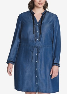 Tommy Hilfiger Plus Size Chambray Denim Shirtdress, Created for Macy's