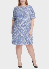 Tommy Hilfiger Plus Size Cold-Shoulder Floral-Print Dress