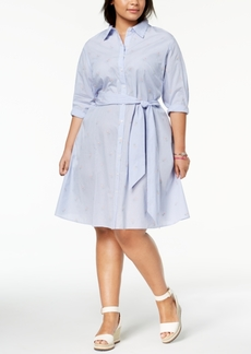Tommy Hilfiger Plus Size Cotton Embroidered Shirtdress, Created for Macy's
