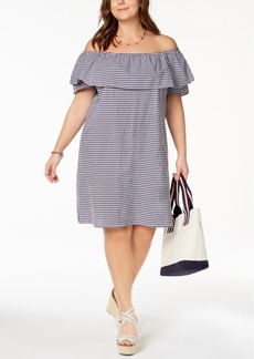 Tommy Hilfiger Plus Size Cotton Gingham Off-The-Shoulder Dress, Created for Macy's