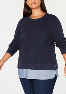 Tommy Hilfiger Plus Size Cotton Layered-Look Sweater, Created for Macy's