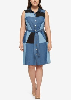 Tommy Hilfiger Plus Size Cotton Patchwork Denim Shirtdress