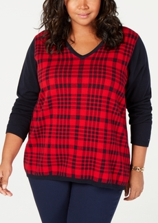 Tommy Hilfiger Plus Size Cotton Plaid Sweater, Created for Macy's