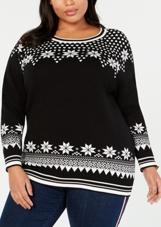 Tommy Hilfiger Plus Size Cotton Snowflake-Pattern Sweater, Created for Macy's