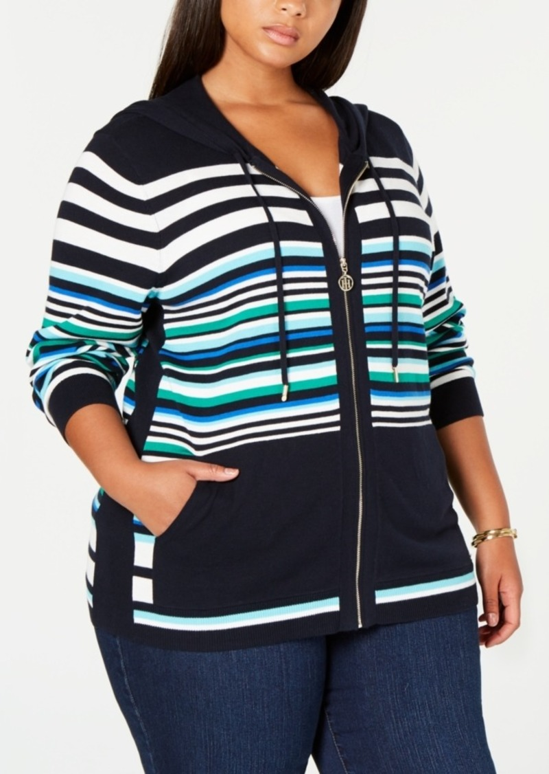 Tommy Hilfiger Plus Size Cotton Striped Hoodie Top, Created for Macy's