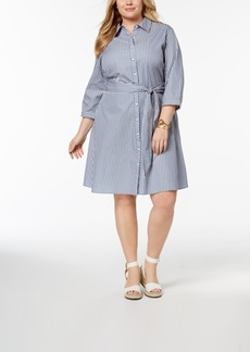 Tommy Hilfiger Plus Size Cotton Striped Shirtdress, Created for Macy's