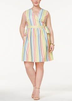 Tommy Hilfiger Plus Size Cotton Striped Wrap Dress