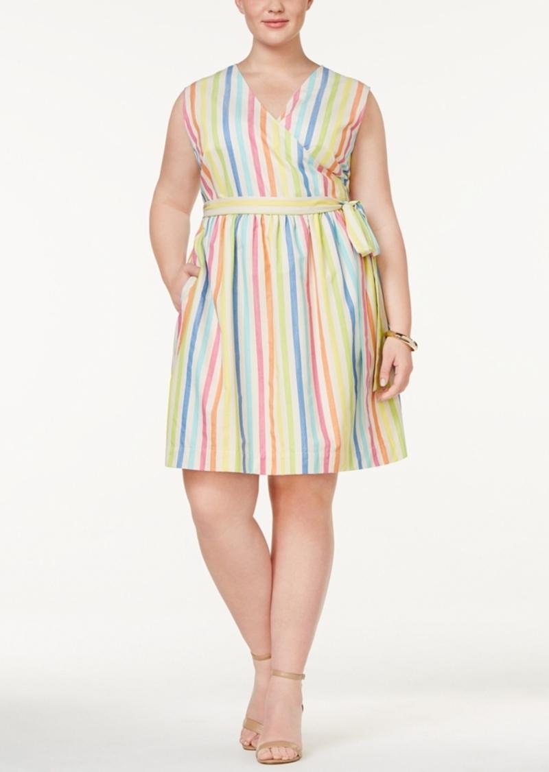 Plus Size Cotton Striped Wrap Dress