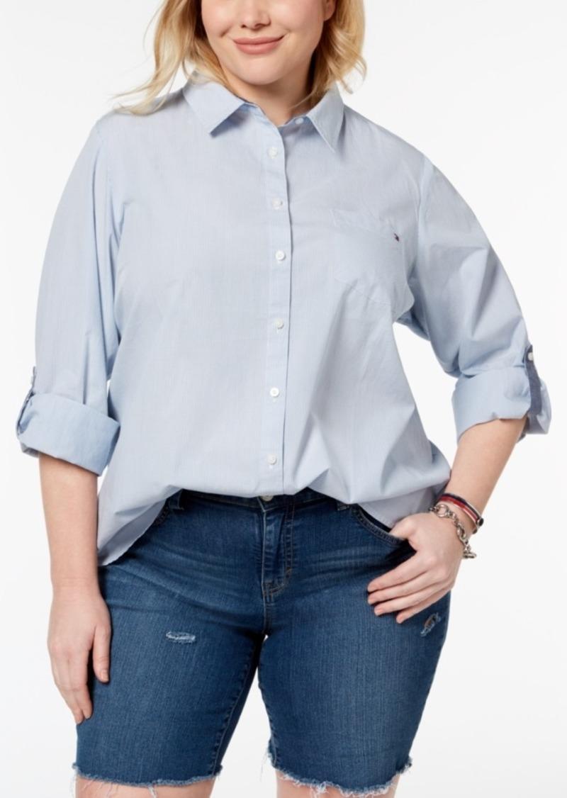 239c2ecd1e6d0 Tommy Hilfiger Tommy Hilfiger Plus Size Cotton Utility Shirt ...