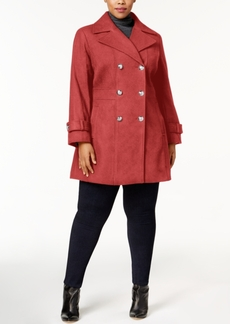 Tommy Hilfiger Plus Size Double-Breasted Skirted Peacoat