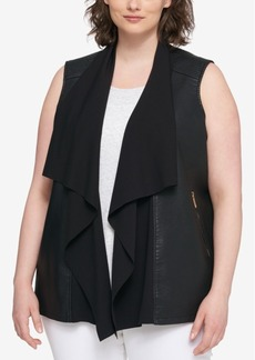 Tommy Hilfiger Plus Size Draped Faux-Leather Vest, Created for Macy's