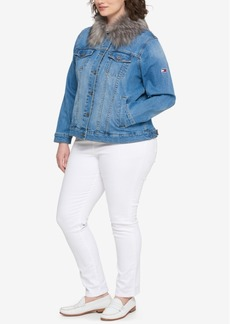 Tommy Hilfiger Plus Size Faux-Fur Denim Jacket, Created for Macy's