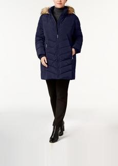 Tommy Hilfiger Plus Size Faux-Fur-Trim Chevron-Quilted Puffer Coat