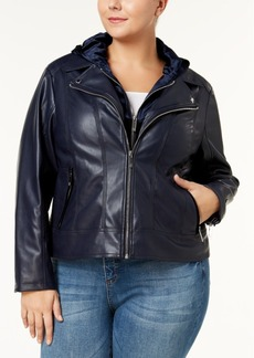 Tommy Hilfiger Plus Size Faux-Leather Layered-Look Moto Jacket, Created for Macy's