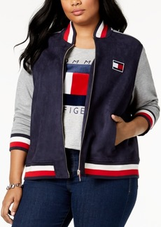 Tommy Hilfiger Plus Size Faux-Suede Bomber Jacket, Created for Macy's