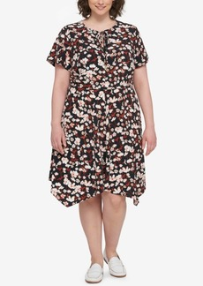 Tommy Hilfiger Plus Size Floral-Print Peasant Dress, Created for Macy's