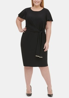 Tommy Hilfiger Plus Size Flutter-Sleeve Sheath Dress