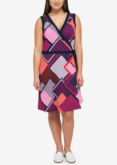Tommy Hilfiger Plus Size Geo-Print Wrap Dress