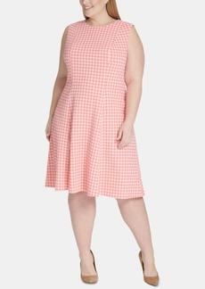 Tommy Hilfiger Plus Size Gingham-Print Fit & Flare Dress