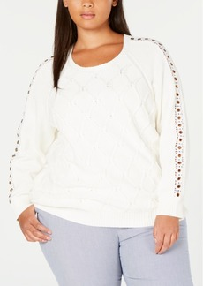 Tommy Hilfiger Plus Size Grommet Lace Sweater, Created for Macy's